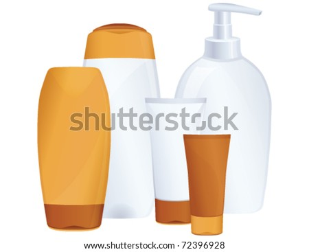 Cosmetic bottles, sun protection, vector - stock vector