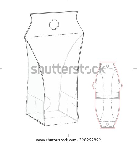 Cosmetic Box with Hanger Hole and Die Line Template - stock vector
