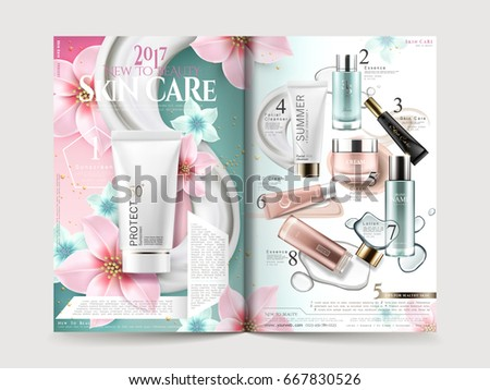 cosmetic brochure design with product collections and elegant flowers, 3d illustration