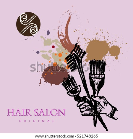 Cosmetic Brushes Hair Coloring Vector Hair Stock Vector (Royalty ...