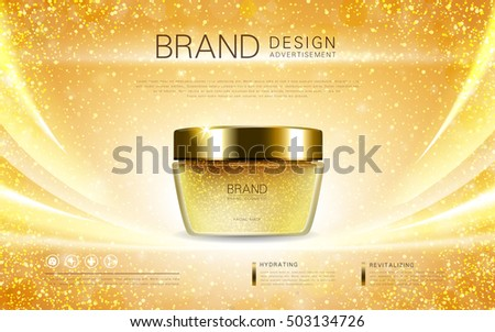 Cosmetic cream container, dazzling ads for cosmetic with golden foil elements. 3D illustration.