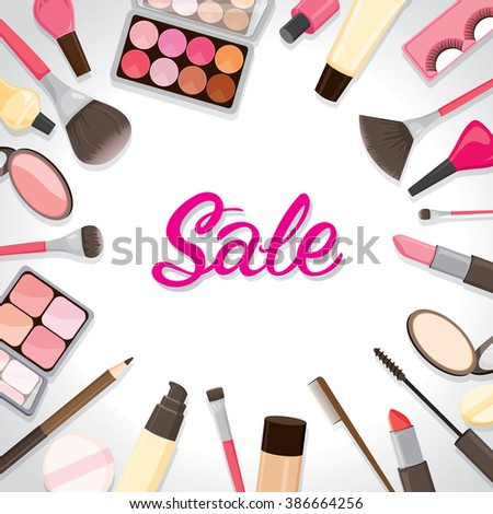 Cosmetic On Around Frame, Facial, Beauty, Cosmetic, Makeup, Health, Lifestyle, Fashion - stock vector