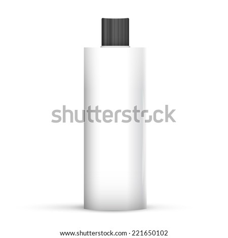 Cosmetic Or Hygiene Grayscale White Gray Chrome Lid Plastic Bottle Of Gel, Liquid Soap, Lotion, Cream, Shampoo. Ready For Your Design. Illustration Isolated On White Background.  - stock vector