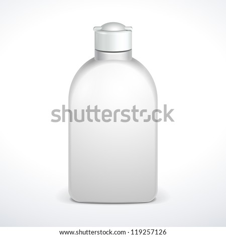 Cosmetic Or Hygiene Grayscale White Plastic Bottle Of Gel, Liquid Soap, Lotion, Cream, Shampoo. Ready For Your Design. Illustration Isolated On White Background. Vector EPS10 - stock vector