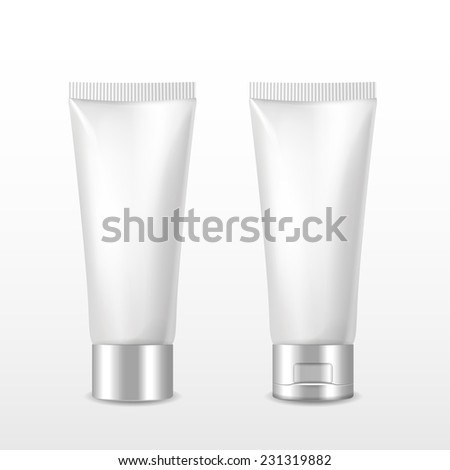 cosmetic packaging tube set over white background