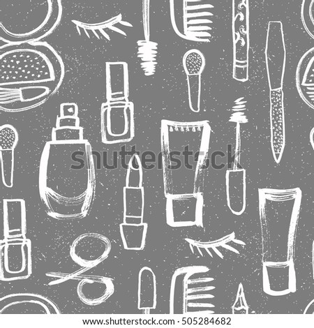 Cosmetic seamless pattern with lipstick, cream, mascara, scissors, comb, nail polish. Vector illustration.