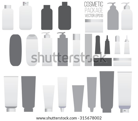 Cosmetic set,  tubes on white background. Cosmetic package, packaging set Vector
