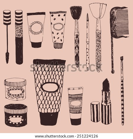 cosmetics and beauty doodle set - stock vector