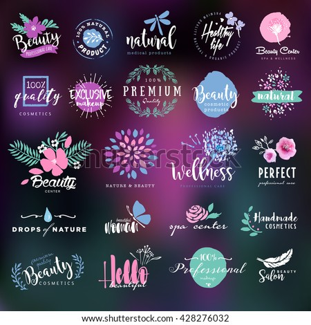 Cosmetics and beauty labels and badges collection - stock vector