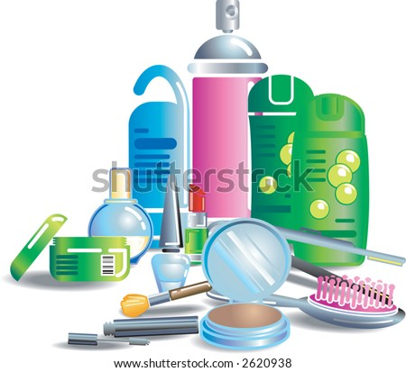 Cosmetics and beauty products Illustration of cosmetics and other bathroom stuff. Each item or set on separate layer. - stock vector