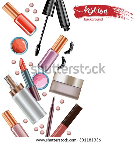 Cosmetics  and fashion background  with    make up artist objects: lipstick, eye shadows, mascara ,eyeliner, concealer, nail polish. Vector illustration.