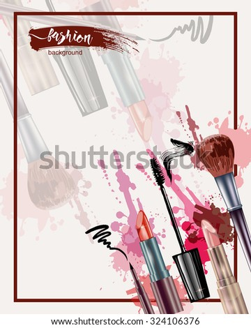 Cosmetics and fashion background with make up artist objects: lipstick, mascara eyeliner.  With place for your text .Template Vector. - stock vector