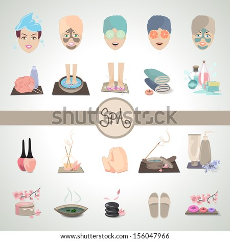 Cosmetics And Spa Icons Set - Isolated On Gray Background - Vector Illustration, Graphic Design Editable For Your Design. - stock vector