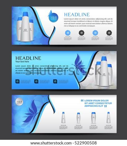 Cosmetics Banner Designtemplate Vector Horizontal Banner Stock - Horizontal brochure template