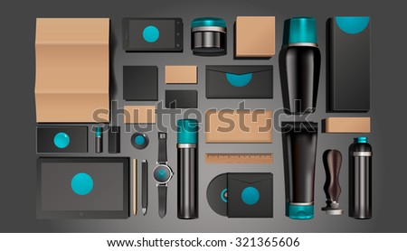 Cosmetics identity templates. Corporate identity templates:blank, business cards, disk, envelope, smart phone, pen, badge, cup, brand-book, bottle, tube. - stock vector