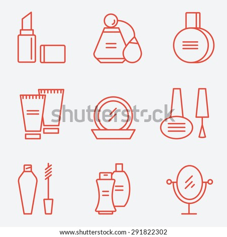 Cosmetics set, flat design, thin line style - stock vector