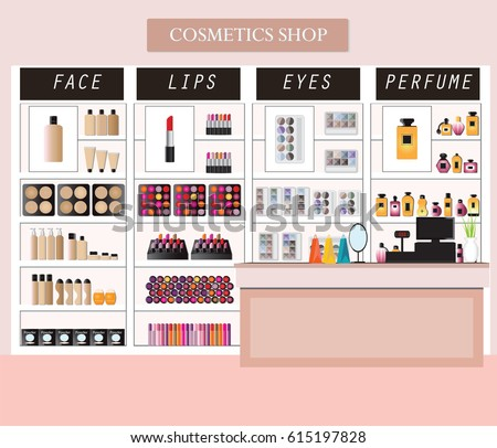 cosmetics store interior products on shelves stock vector