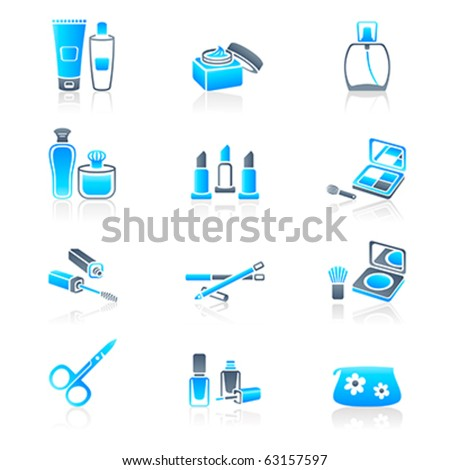Cosmetics, visage, make-up containers and tools icon-set - stock vector