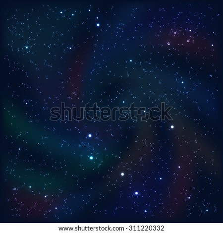 Cosmic abstract background with stars and nebulas. Vector Illustration