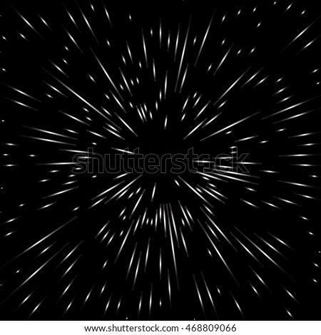 Cosmic Blast. Black and white vector illustration