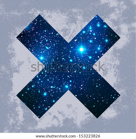 Cosmic cross on grunge background - vector illustration. - stock vector