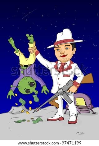 Cosmic gangster withdrawing money from alien - stock vector