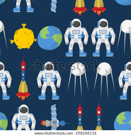 Cosmic seamless pattern. Earth and astronaut. Space rocket ship and satellite. Vector background.  - stock vector