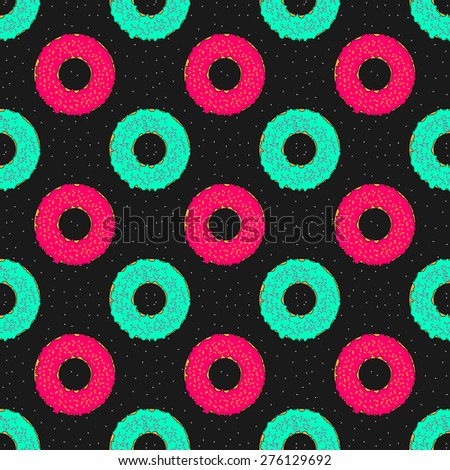 Cosmic seamless pattern with colorful donuts on a black starry background  - stock vector