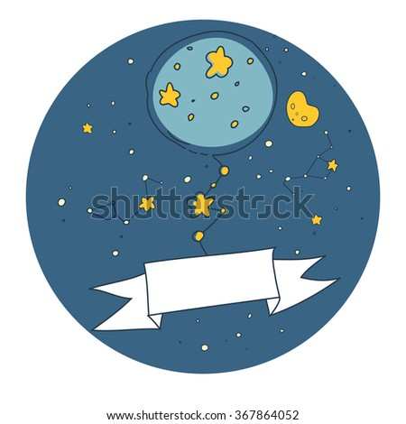 Cosmic tree in the star night. Cute hand drawn doodle card, circle background, text space  - stock vector