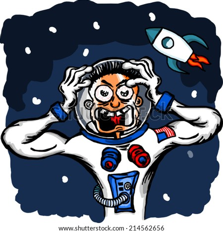 Cosmonaut in space. Funny cartoon illustration isolated on white.