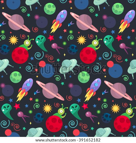 Cosmos and UFO concept in seamless pattern for wrap, print, fabric and game, web and children's items. Spaceship,  satellites, planet and alien, extraterrestrial, stars and universe. Vector - stock vector