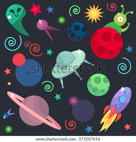 Cosmos and UFO concept in seamless pattern for wrap, print, fabric, game, web, children's items. Spaceship,  satellites, planet and alien, extraterrestrial, stars and universe. Vector - stock vector