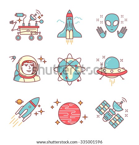 Cosmos exploration sings set. Planets, rockets, lander, satellites and astronaut in helmet. Oh, forgot about alien and his ship. Thin line art icons. Flat style illustrations isolated on white. - stock vector