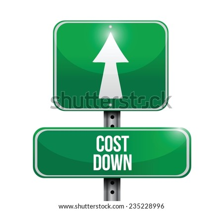 cost down street sign illustration design over a white background - stock vector