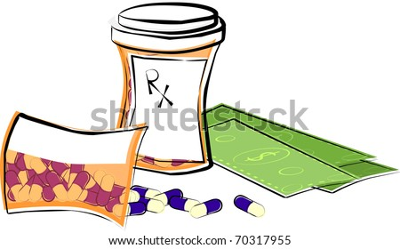 Cost of Medication - stock vector