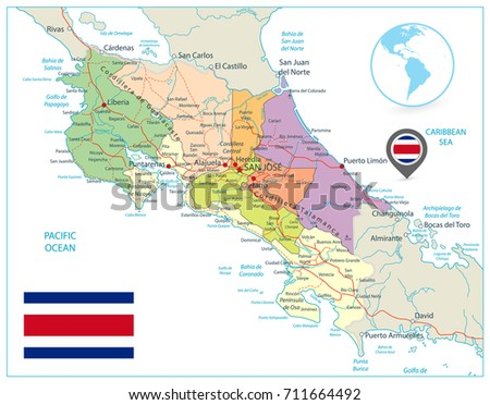 Costa Rica Administrative Map Isolated On Stock Vector - Costa rica detailed map
