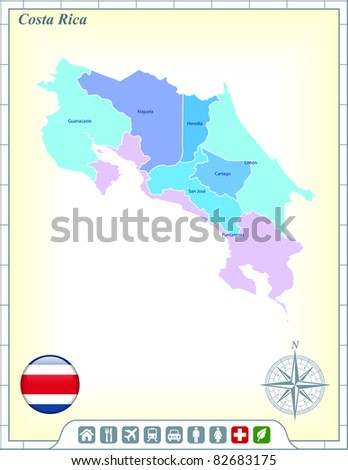 Costa Rica Map with Flag Buttons and Assistance & Activates Icons Original Illustration