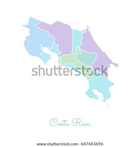 Set Vector Polygonal Costa Rica Maps Stock Vector - Costa rica regions map