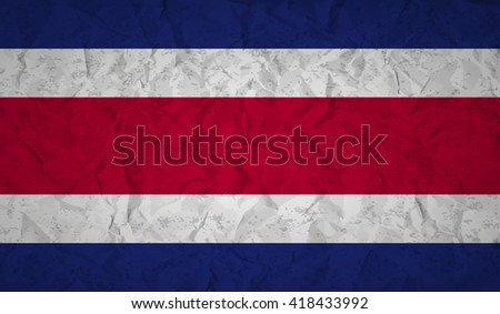 Costa  Rican flag with the effect of crumpled paper and grunge - stock vector
