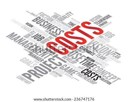 COSTS business concept in word tag cloud, vector background - stock vector