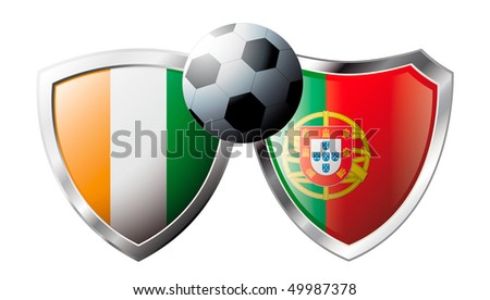 Cote d I voire versus Portugal abstract vector illustration isolated on white background. Shiny football shield of flag Cote d I voire versus Portugal - stock vector