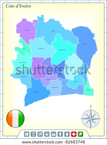 Cote D'ivoire Map with Flag Buttons and Assistance & Activates Icons Original Illustration - stock vector