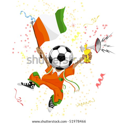 Cote d'Ivoire Soccer Fan with Ball Head. Editable Vector Illustration - stock vector