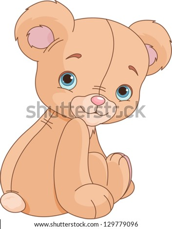 Cote Sitting Teddy bear against white background - stock vector