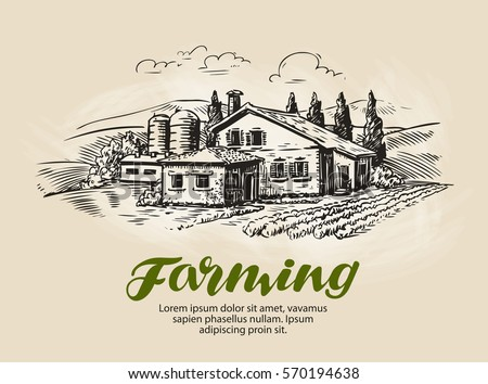 Cottage Country House Sketch Farm Rural Landscape Agriculture Farming Vector Illustration