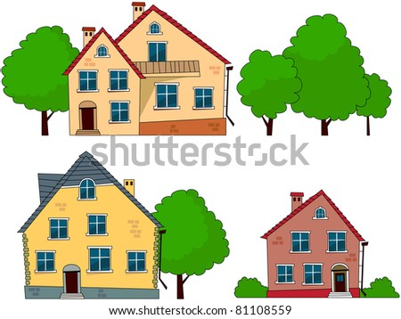 Cottages and trees cartoon set (5).