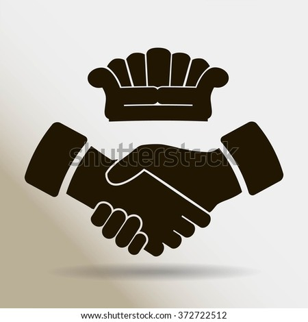 Couch, handshake vector icon - stock vector