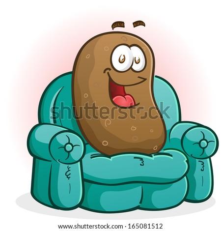 Couch Potato Cartoon Character - stock vector