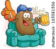 Couch Potato Sports Fan Cartoon Character - stock photo