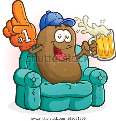 Couch Potato Sports Fan Cartoon Character - stock vector